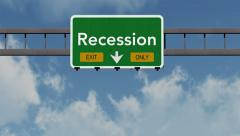 Stock Video Footage of 4K Passing Recession Exit Only Highway Sign with Matte 1 neutral