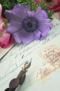 Quill pen and antique letters with anemone flowers Stock Photos