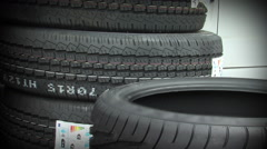 Car tyre sales warehouse Stock Footage