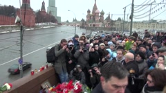 The place of the murder of politician Boris Nemtsov Stock Footage