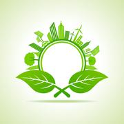 Ecology Concept - eco cityscape with leafs - stock illustration