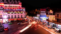 Time Lapse of  Downtown Traffic Circle at Night -  Hoan Kiem  / Hanoi Vietnam Stock Footage