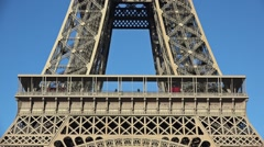 Eiffel Tower zoom in first floor with tourists - 60fps Stock Footage