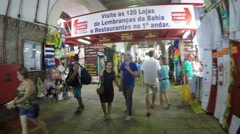 Walking on the traditional Mercado Modelo in Salvador, Bahia, Brazil Stock Footage