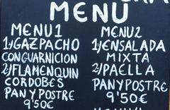 Exterior menu cartel in Barcelona - Spain - stock photo
