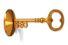 Seo - Golden Key is Inserted into the Keyhole - stock illustration