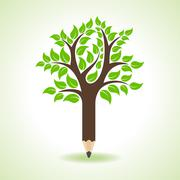 Ecology concept - Pencil make a tree stock vector - stock illustration