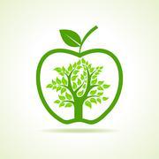 Tree inside the apple- vector illustration Stock Illustration