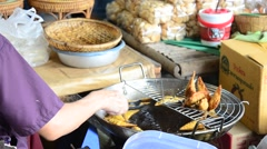Pork dumpling deep fired thai style Stock Footage