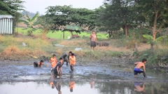 Children catch fish in mud of pond at Countryside Nonthaburi Thailand Stock Footage