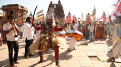 People enjoying festival in Humpi Temple Stock Footage