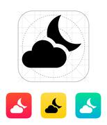 Partly cloudy night icon Stock Illustration