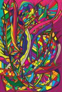 spiral decorative doodles - stock illustration
