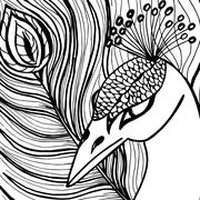 Decorative ornamental peacock - stock illustration