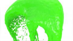Abstract green paint splash passing screen, isolated on white (FULL HD) Stock Footage