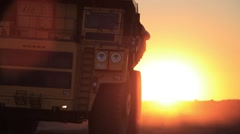 Big truck rides on camera in sunshine large Stock Footage