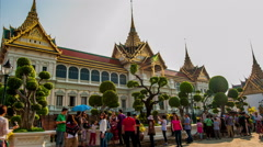 4K TimeLapse - Tourists walks in The Grand Palace with its Royal Chapel Stock Footage