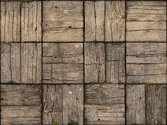 Parquet Style, Wooden Patio with Alternating Woodgrain - stock photo