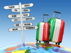 Travel concept. Suitcases and signpost what to visit in Italy - stock illustration