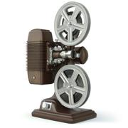 Vintage film movie projector isolated on white. - stock illustration