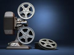 Video, cinema concept. Vintage film movie projector and reels on blue backgro - stock illustration