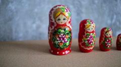 Russian nesting dolls, matryoshka Stock Footage