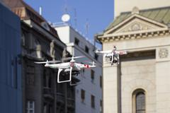 Two Drone to fly in the city - stock photo