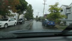 Driving north on Woodland drive on rainy day in suburban Vancouver, BC. Stock Footage