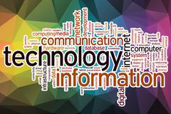 Information technology word cloud with abstract background - stock illustration