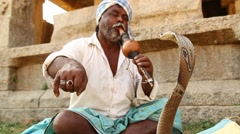 Man with snake cobra Stock Footage