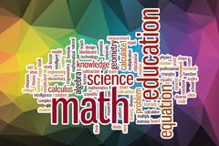 Math word cloud with abstract background Stock Illustration