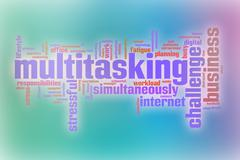Multitasking word cloud with abstract background Stock Illustration
