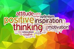 Positive thinking word cloud with abstract background Stock Illustration