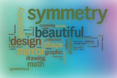 Symmetry word cloud with abstract background - stock illustration