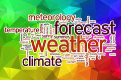 Weather forecast word cloud with abstract background - stock illustration