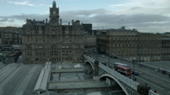 Edinburgh, Scotland with The Balmoral and North Bridge Stock Footage