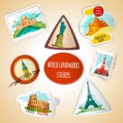 World Landmarks Stickers - stock illustration