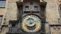 Old astronomical clock in center square of Prague, Czech Republic Stock Footage