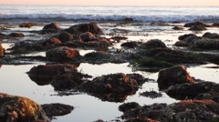 Malibu Tide Pools Closeup rocks and waves breaking (nice!) - stock footage
