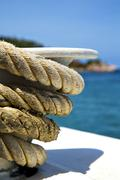 Asia in the  kho tao bay isle white  ship   rope  and south anchor Stock Photos