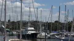 Yachts and boats in Town Basin, Whangarei, New Zealand Stock Footage