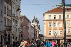 LVIV, UKRAINE - February 22, 2015 Lviv unique architecture - stock photo