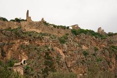 Remnants of the castle of Monemvasia - stock photo