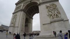 The famous Arc de Triomphe in Paris, France Stock Footage