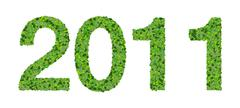 Year 2011, date made from green leaves isolated on white background. Stock Illustration