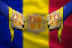 failure of Andorra - hands gesturing thumbs down in front of flag - stock illustration