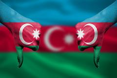 failure of Azerbaijan - hands gesturing thumbs down in front of flag - stock illustration