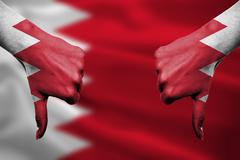 failure of Bahrain - hands gesturing thumbs down in front of flag - stock illustration