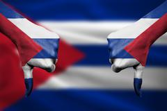 Failure of Cuba - hands gesturing thumbs down in front of flag Stock Illustration