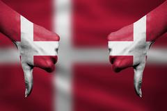failure of Denmark - hands gesturing thumbs down in front of flag - stock illustration